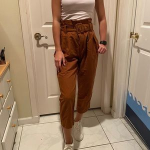 Zara brown trouser belt high waisted pants, S